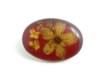 Vintage, Dried Flower, Brooch, Burgundy, STQ38