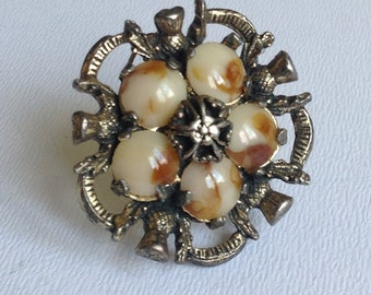 Vintage Miracle Scottish Thistle Faux Agate Brooch - Celtic Jewellery - shawl Pin - Gifts for Her