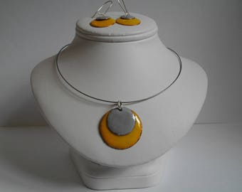 Yellow and grey pendant and matching Stud Earrings - jewelry enamel on copper - confetti Collection