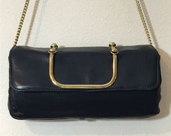 1970s Structured Clutch Cocktail Purse Handbag Navy Blue by Ande