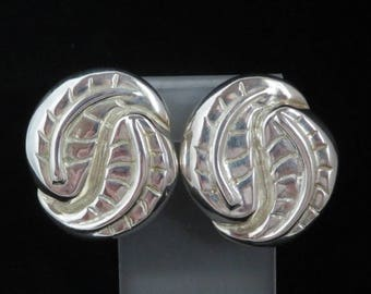 Vintage Silver Plated Leaf Earrings, Signed Catherine Stein  Clip-on Earrings