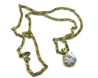 Rhinestone Pendant, Vintage Gold Tone S-Link Necklace, Round Crystal Pendant, Long Chain Necklace, Gift Idea, Gift Box, FREE SHIPPING