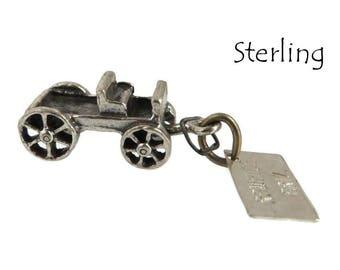 Sterling Silver Wagon Charm, Bell Sterling Charm, Vintage 3D Charm, Rawhide Arizona Pendant