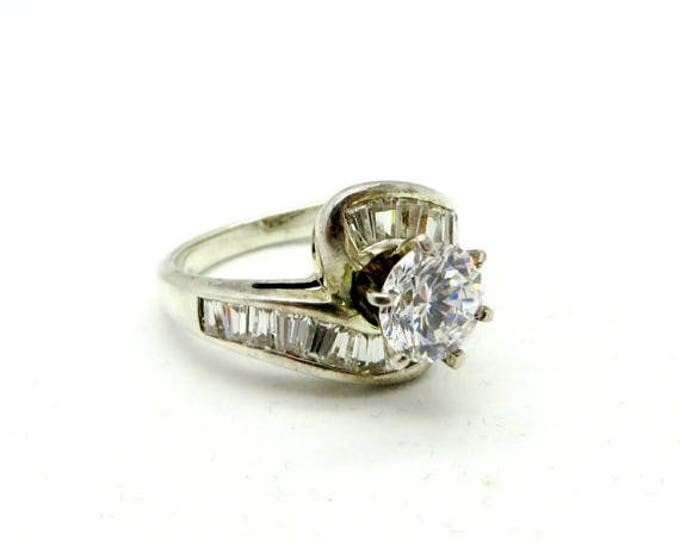 Vintage Sterling Silver Multi-Stone CZ Engagement Ring, Size 7