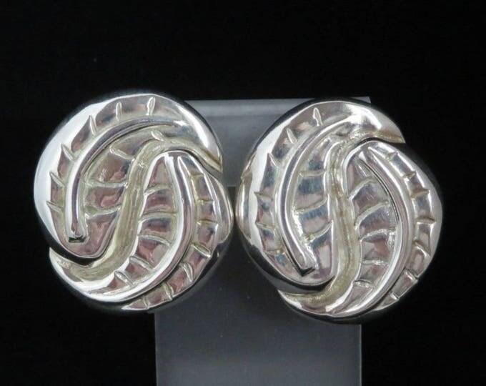 C. Stein Leaf Earrings, Vintage Silver Plated Earrings, Signed Catherine Stein Clip-on Earrings