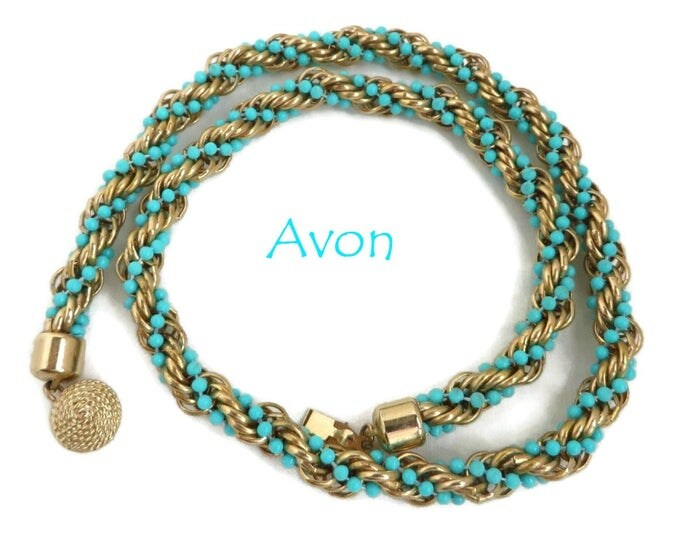 AVON Necklace - Vintage Turquoise & Gold Bead Rope Twist Necklace, Valentine's Day Gift, Gift Boxed