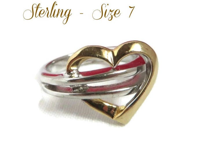 Sterling Silver Heart Ring, Vintage Two Tone Silver Ring Size 6.75-7, Valentine's Day Gift
