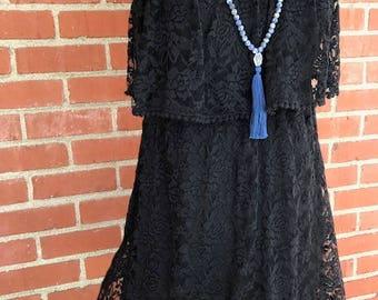 Vintage Senorita Lace Dress. Black dress. Vintage Lace Dress. Size is Large USA.