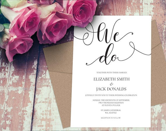 We Do Wedding Invitation INSTANT DOWNLOAD
