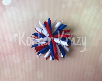 Red White and Blue 4th of July Large Korker Bow