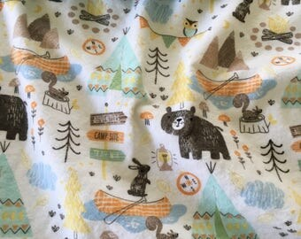 Flannel Baby Blanket ~ Flannel and Minky Baby Blanket ~ Toddler Blanket ~ Daycare Blanket ~ Woodland Nursery ~ Teepees