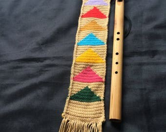 Crochet case Native-American flute /// Knitted like flute cover  //Colourful glove for whistles//crochet cover for flutes///