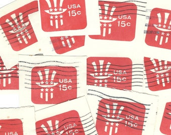 20 RED Uncle Sam HAT Embossed Stamp Imprints from prepaid postage envelope  - Vintage Used Postage Stamp US American Salvaged Cancelled B76