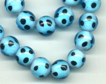 2 beads 12 mm glass Turquoise black spots