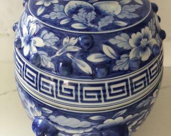 Greek key Ginger Jar - blue and white chinoiserie