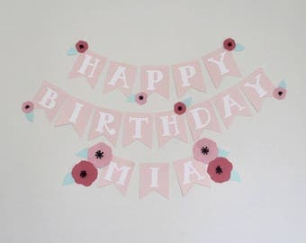 Floral Stripe Birthday Banner Baby Girl Personalized