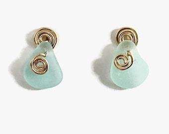 Sea Foam Sea Glass Post Earrings, 14K Gold Filled Jewelry, Beach Glass Studs