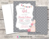 Gray Chalkboard baby girl shower invitation, flowers, banner gray, pink, Digital File printable