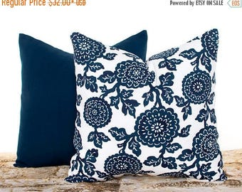 SALE ENDS SOON Navy Blue Floral Mums Pillow Set, Navy Throw Pillow Covers, Decorative Pillow Shams, Cushion Covers, Navy Decor, Pillowcases