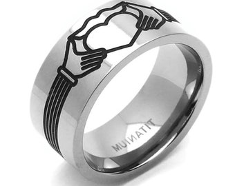 Men Women 9MM Comfort Fit Titanium Wedding Band Claddagh Design Flat Ring(CT149RTT)
