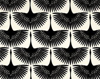 SHIPS SAME DAY Black Velvet Upholstery Fabric, Genevieve Gorder Flock Velvet Onyx, Cut Velvet Home Decor Fabric, Bird Fabric - by the yard