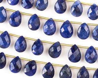Gemstone Briolette Beads - Sapphire  - Faceted Hand Cut - Grade AA Quality - 7x10mm  - Top Drilled Horizontal 1mm - 02 pieces per order