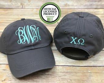 Sorority baseball hat, sorority hat, monogram hat, sorority monogram hat, hat, baseball hat, greek, chi omega, delta zeta, kappa kappa gamma