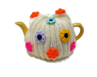 Knitted flower, tea Cosy, Hand Knit cozy, Handmade wool cosy, Tea pot cover, Woollen cosies, Teapot + Cozies, fits 4 - 6 cup teapots, medium