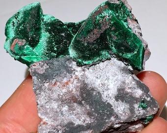 Top Quality 82g Fibrous Malachite Pseudomorph After Azurite Crystal Specimen - Milpillas Mine, Mexico - Item:MAL17029