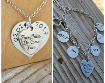 Personalized Wedding jewelry set bridal gifts wedding charms wedding gifts heart charms custom jewelry bride to be bridal party just married