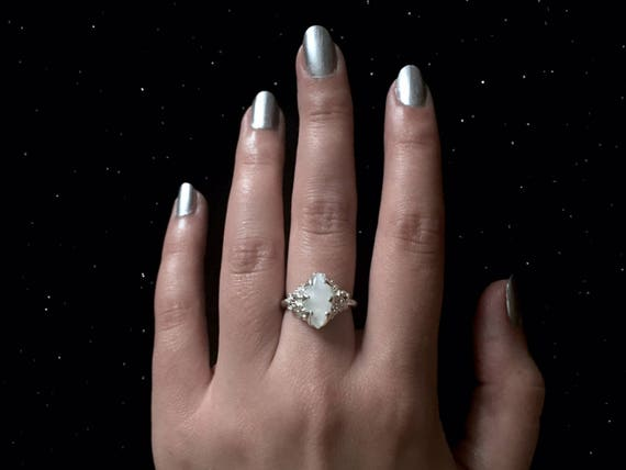 Diamond Marquis Cut Moonstone Ring Solitaire set in High Polish Solid 925 Sterling Silver