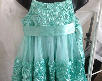 Green Ribbon Ruffle and Crystal Party Dress aged 7 years christmas