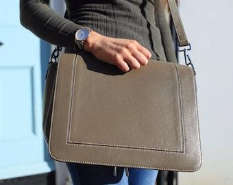 Grey Leather Bag / Leather Handbag / Leather Messenger / Leather Shoulder Bag / Gray Leather Bag / Leather Purse / Gray Handbag