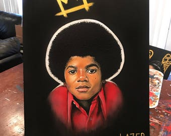 Original Painting of Young Michael Jackson King of Pop