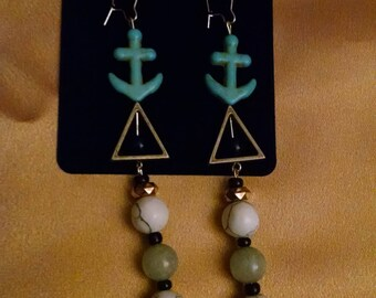 Blue Anchor & Triangle Dangle Earrings