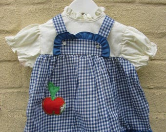 baby vintage dress 1960's old stock new blue with red apple logo gingham country summer style age 1-18 months