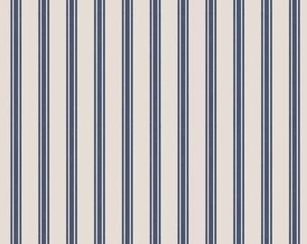 Lewis & Irene Countryside Winter C18-1  Ticking Navy Stripe Patchwork Quilting Fabric