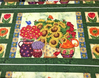 Time to Blossom Flowers approx 24 x 44 inch 'discounted' Panel 23552 SPX Patchwork Quilting Fabric