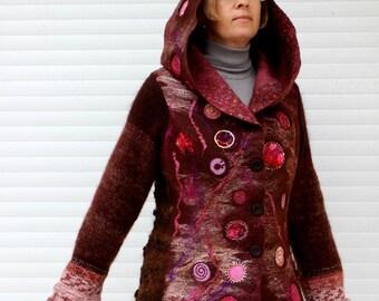 Nuno Felted jaket, knitted sleeves,jacket with a hood, spring jaket,fleece jaket,brown,lilac,rose