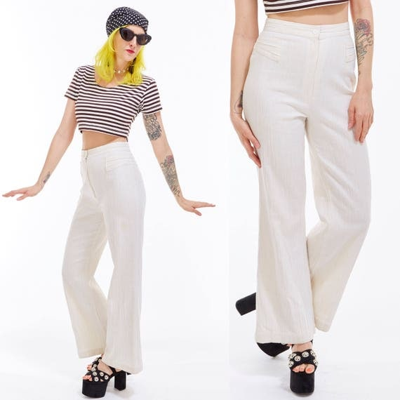 Vtg 70s BELL BOTTOMS Off White Maxi Sailor Pants Nautical Boho Minimalist Chic Preppy Retro Disco Pin Up Rockabilly Sexy Wiggle Resort XS