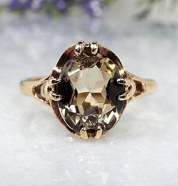 Vintage 1973 9ct Yellow Gold Buttercup Set Smoky Quartz Solitaire Ring / Size N