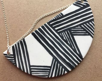 Handpainted Ceramic Necklace - Half Moon - Black and White Stripes - Statement Necklace
