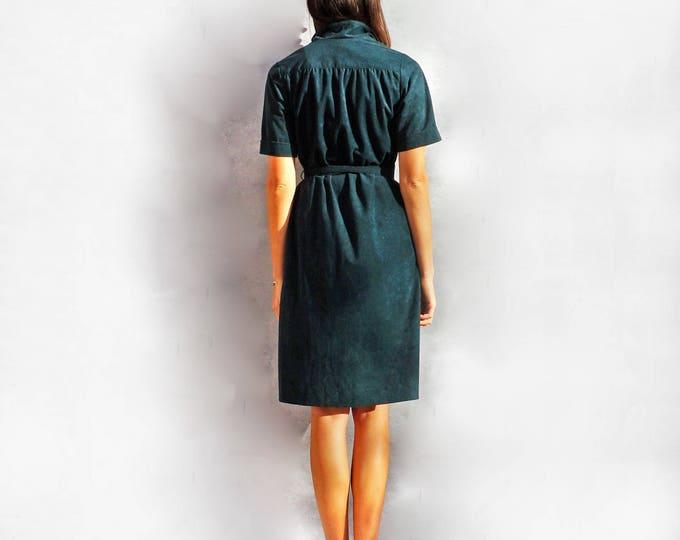 Everyday Casual Dress, Vintage 60s Dress, Green Dress, Suede Dress, Dress With Sleeves, Dress With Pockets, Daywear Dress, Knee Length Dress