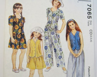 McCall's 7065 Girl's Vest Top Pants Shorts Sewing Pattern Sizes 2 - 4 Uncut