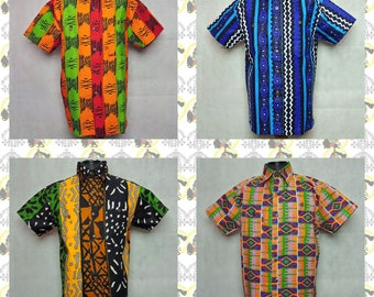African Pattern Shirts [drs](Size:Large) African Fabric