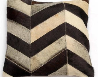 Natural Cowhide Luxurious Patchwork Hairon Cushion/pillow Cover (15''x 15'')a243