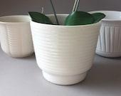 Planter handmade ceramic stripes, round Vintage flower pot, Germany Retro flowerpot, gift girlfriend men him her sister brother white