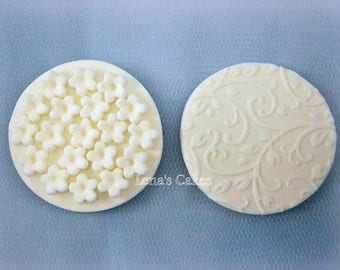 Wedding Fondant Cupcake Edible Toppers, Romantic White Sugar Flowers, Edible Decorations Bridal Shower, Engagement Decor Anniversary Toppers