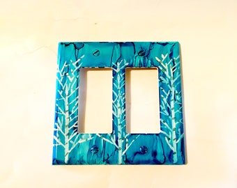 Double Switchplate, Toggle Switchplate, Blue Decor, Tree Decor, Unique Switchplate, Home Decor