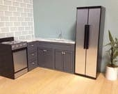 """L Shaped corner kitchen cabinets and sink, Dollhouse furniture, 1:6 scale, 12"""" dolls"""